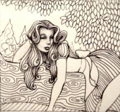 Tired Alice - Graphite and Pen and Ink