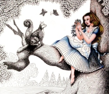 Alice and Dinah in the Tree - Pen, Ink, Colored Pencil
