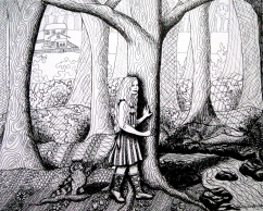 Through the Forest - Pen and Ink