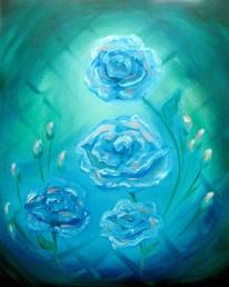 Blue-Green Roses - Oils