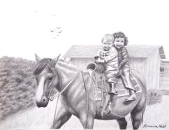 Two Children on Horseback in the 1940s - Graphite