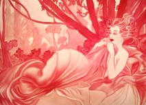 Dusk in Crimson After Mucha - Mixed Media