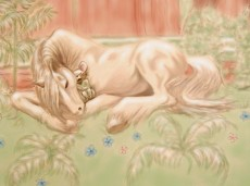 Horse and Mouse Sleeping in the Forest - Mixed Media