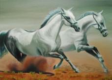 Horses Running - oils