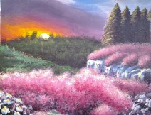 Pink Floral Bushes at Sunset - Acrylics