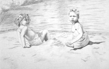 Two Children at the Beach in the 1940s - Graphite