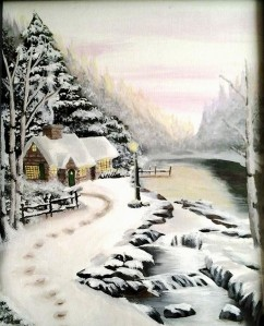 Winter Glow After Thomas Kinkade - Acrylics