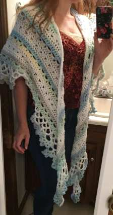 Blue and White Shawl