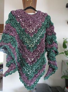 Purple and Green Velvet Shawl