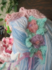 Blue Tilda Doll Headband Flowers