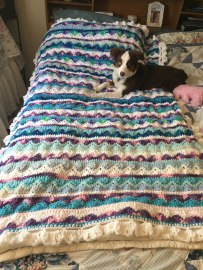 Caron Summer Mist Throw with Purple Blue and White