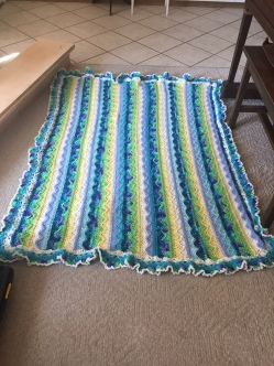 Caron Summer Mist Throw with Yellow and Blue